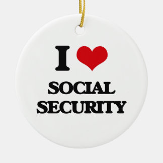 I love Social Security Double-Sided Ceramic Round Christmas Ornament