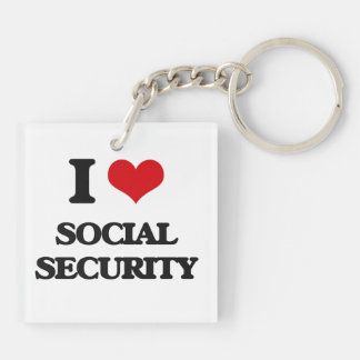I love Social Security Double-Sided Square Acrylic Keychain