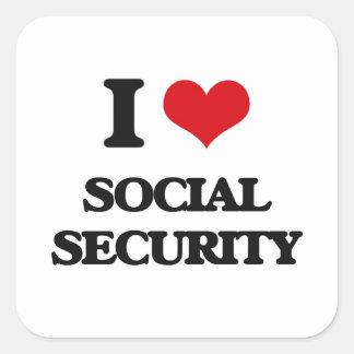 I love Social Security Square Sticker
