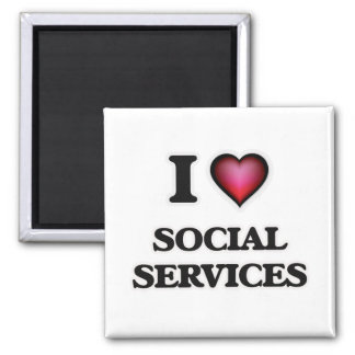 I Love Social Services 2 Inch Square Magnet