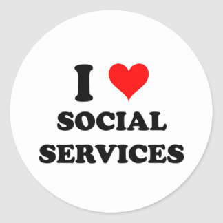 I Love Social Services Classic Round Sticker