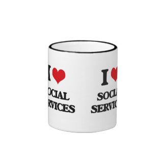 I Love Social Services Ringer Coffee Mug