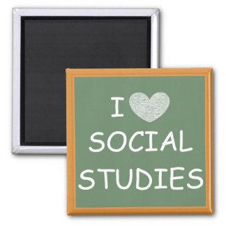 I Love Social Studies 2 Inch Square Magnet