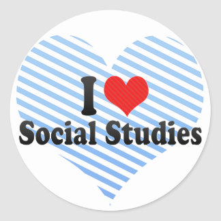 I Love Social Studies Classic Round Sticker