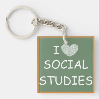 I Love Social Studies Acrylic Keychains