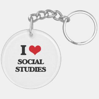 I love Social Studies Double-Sided Round Acrylic Keychain