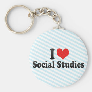 I Love Social Studies Keychain