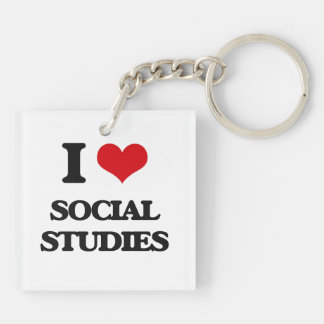 I love Social Studies Double-Sided Square Acrylic Keychain