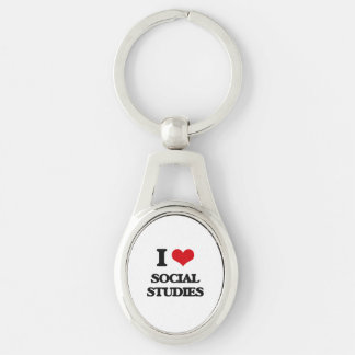 I love Social Studies Silver-Colored Oval Keychain
