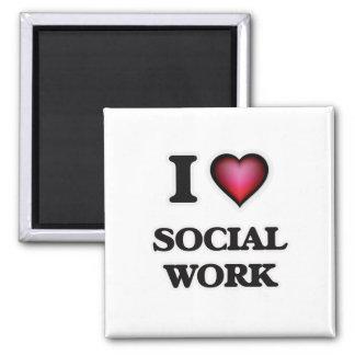 I Love Social Work 2 Inch Square Magnet