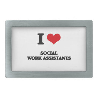 I love Social Work Assistants Rectangular Belt Buckle