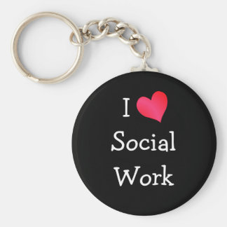 I Love Social Work Basic Round Button Keychain