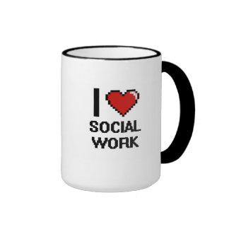 I Love Social Work Digital Design Ringer Coffee Mug