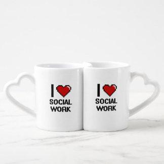 I Love Social Work Digital Design Couples' Coffee Mug Set