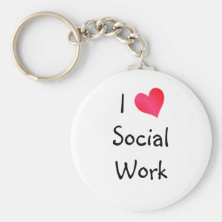 I Love Social Work Keychain