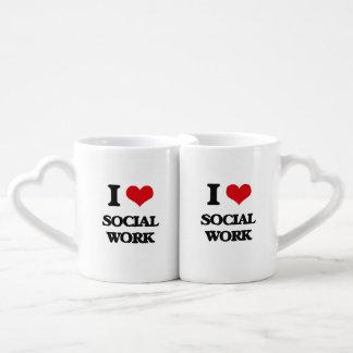 I Love Social Work Couples' Coffee Mug Set