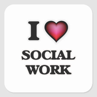 I Love Social Work Square Sticker