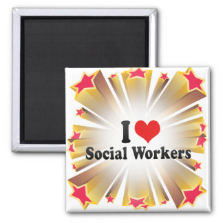 I Love Social Workers 2 Inch Square Magnet