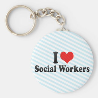 I Love Social Workers Keychain