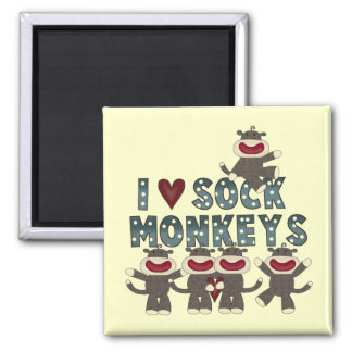 I Love Sock Monkeys Tshirts and Gifts 2 Inch Square Magnet