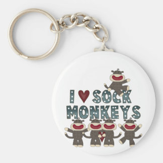 I Love Sock Monkeys Tshirts and Gifts Basic Round Button Keychain