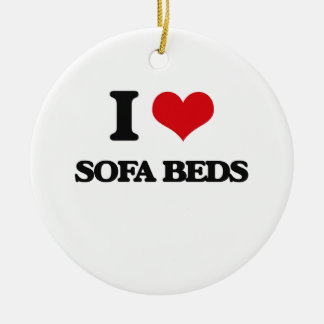 I love Sofa Beds Double-Sided Ceramic Round Christmas Ornament