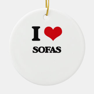 I love Sofas Double-Sided Ceramic Round Christmas Ornament