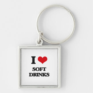 I love Soft Drinks Silver-Colored Square Keychain