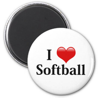 I Love Softball 2 Inch Round Magnet