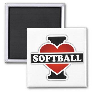 I Love Softball 2 Inch Square Magnet