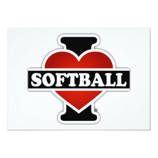 I Love Softball 5x7 Paper Invitation Card