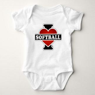I Love Softball Baby Bodysuit