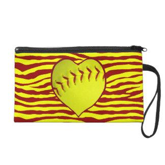 I Love Softball Wristlet Purses