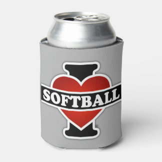 I Love Softball Can Cooler