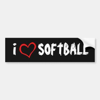 I Love Softball Car Bumper Sticker