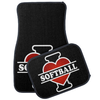 I Love Softball Car Floor Mat