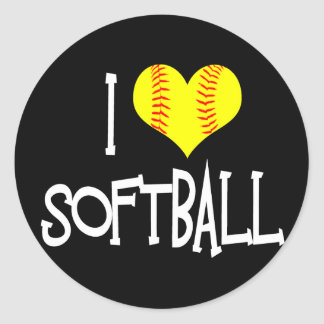 I love softball classic round sticker