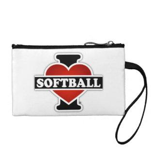 I Love Softball Coin Purse
