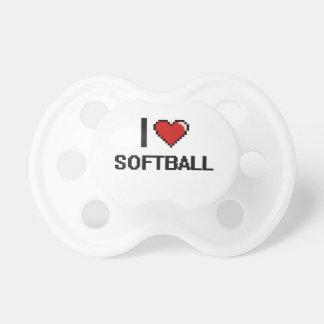 I Love Softball Digital Retro Design BooginHead Pacifier