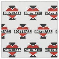 I Love Softball Fabric
