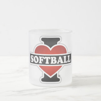 I Love Softball Frosted Glass Coffee Mug