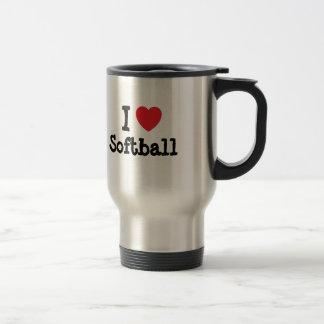 I love Softball heart custom personalized 15 Oz Stainless Steel Travel Mug