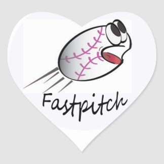 I Love Softball Heart Sticker