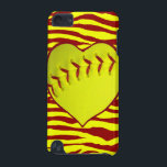 "I Love Softball iPod Touch 5G Cover<br><div class=""desc"">For those who love softball. A heart shaped softball in neon yellow with red stitching set on a background of yellow and red zebra or tiger stripes. Show the world you love softball with these customizable products.</div>"
