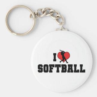 I Love Softball Keychain
