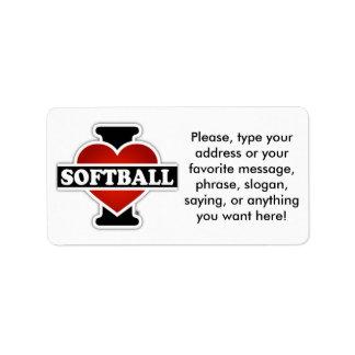 I Love Softball Label