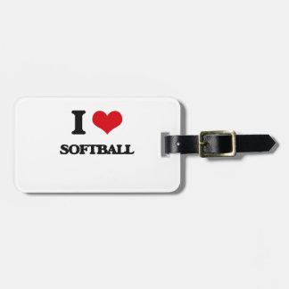 I Love Softball Bag Tag