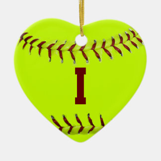 I Love Softball Ornament