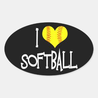 I love softball oval sticker
