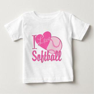 I Love Softball Pink Baby T-Shirt